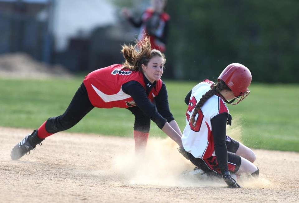 Floral Park's Lindsay Trifon steals second base before