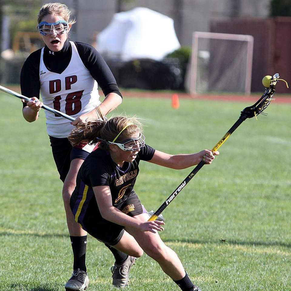 Sayville's Connie Nielsen goes to the ground in