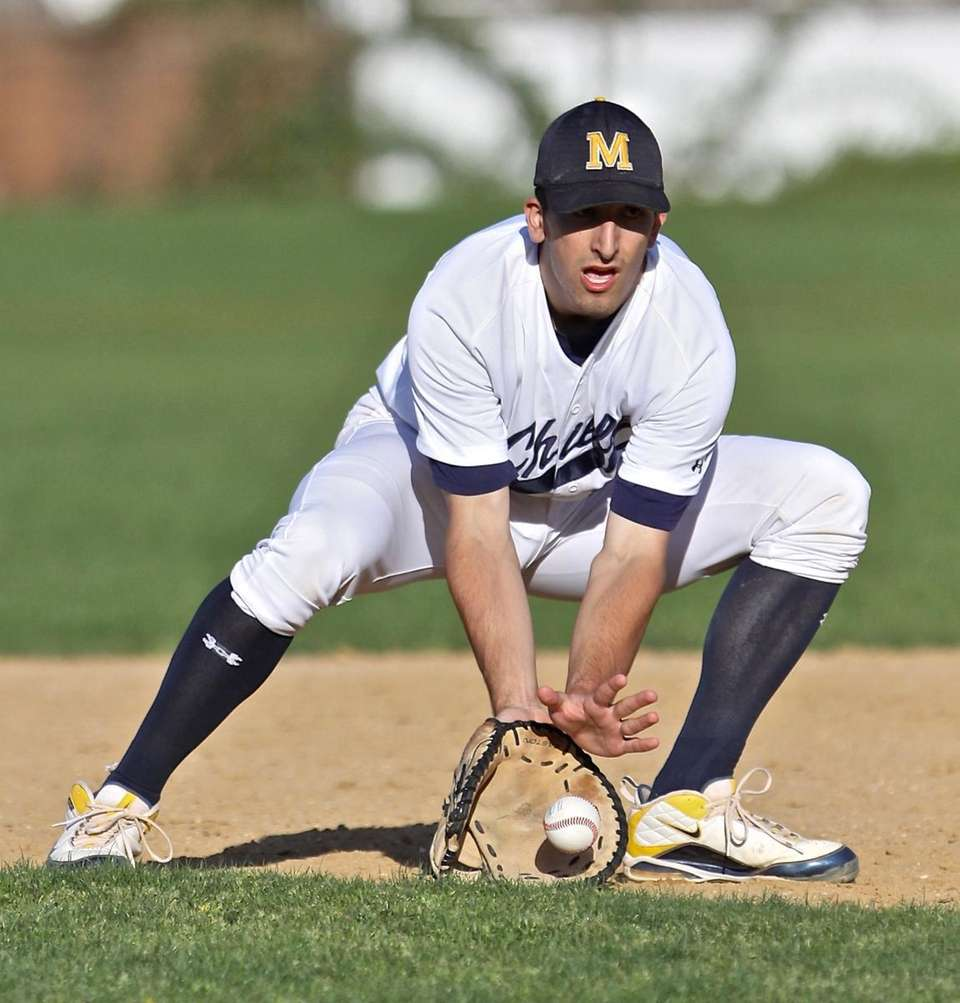 Massapequa first baseman Rob Veltre grabs a ground