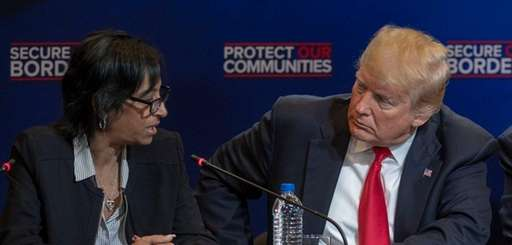 Evelyn Rodriguez talks to President Donald Trump on