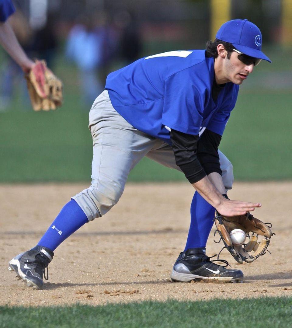 Calhoun third baseman Robbie Rosen fields a ground