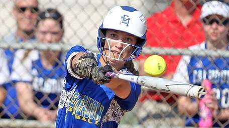 East Meadow's Jenna Laird leads off with an