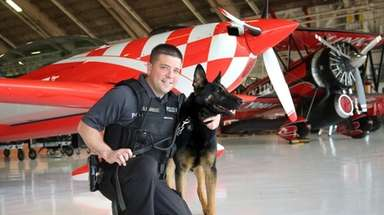 State park police Officer Steven LoDolce with Bax