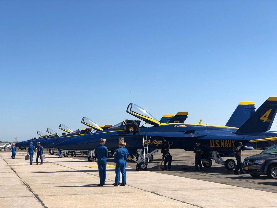 Through azure skies, the U.S. Navy Blue Angels