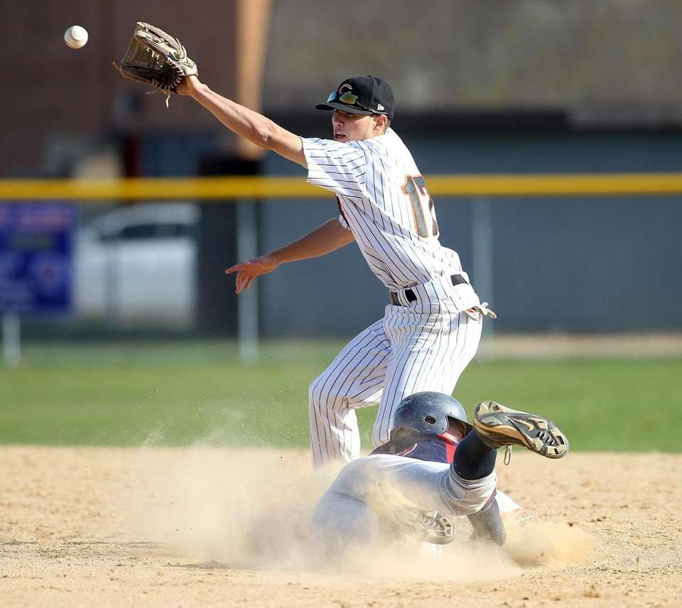 MacArthur's Mario Angiere (12) safely steals second base