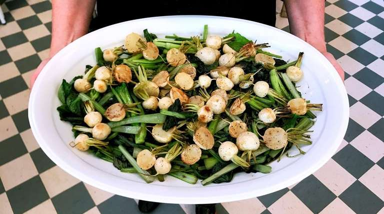 A salad of Japanese turnips, their greens and