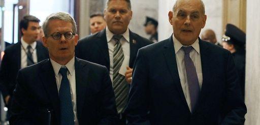 White House lawyer Emmet Flood, left, and White