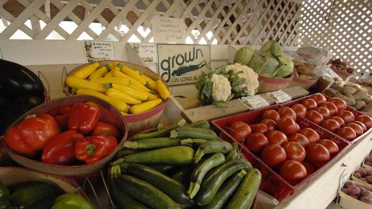 Locally grown produce at Schmitt's farm, Main Road