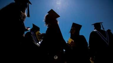 Graduates line up during Suffolk County Community College's