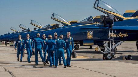 U.S. Navy Blue Angels pilots arrive at Republic