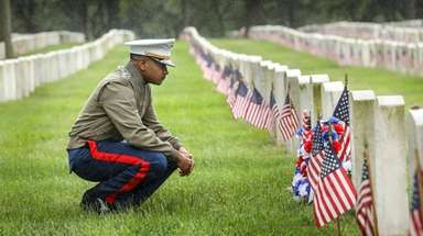 Marine Capt. Danyiel Brustmeyer at the National Cemetery,