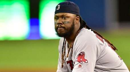 Boston Red Sox first baseman Hanley Ramirez looks