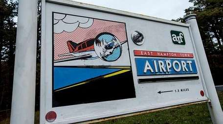 The East Hampton Airport signage in East Hampton