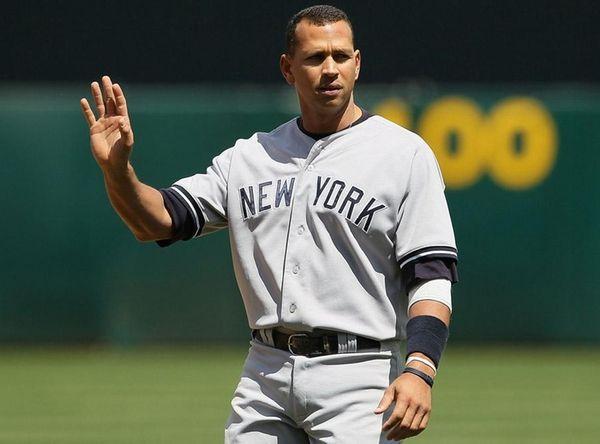 Alex Rodriguez gestures towards Oakland's Dallas Braden during