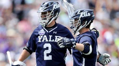 Yale's Ben Reeves celebrates after scoring a goal