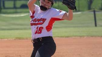 Carey pitcher Dana Romano delivers against Mepham during