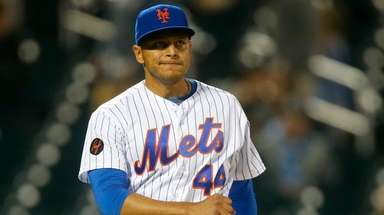 Mets pitcher AJ Ramos looks on during the