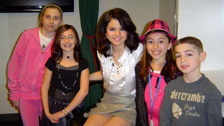 Selena Gomez with Kidsday reporters, from left, Trinity