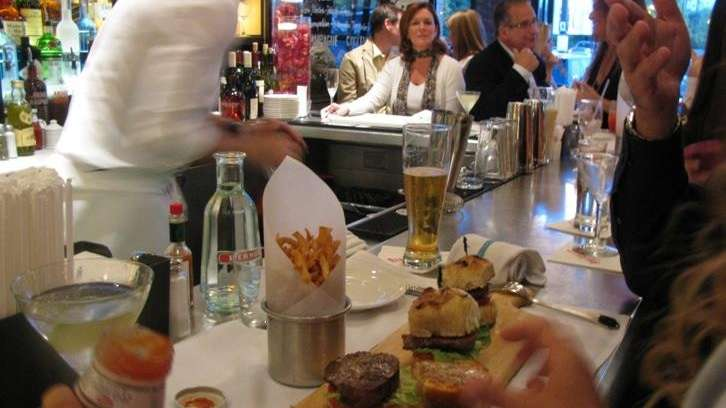 The bar at Bar Frites in Greenvale on