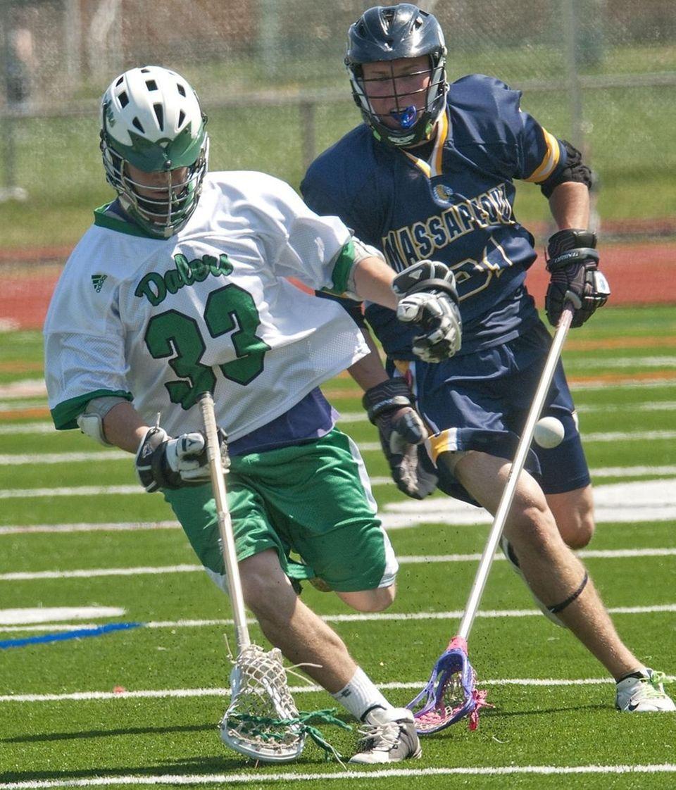 (L) Farmingdale High School #33 Jon Lyons battles