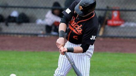 Long Island Ducks' Alec Sole strokes a single