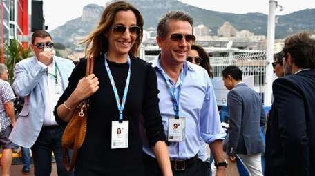 Anna Eberstein and Hugh Grant attend the Monaco