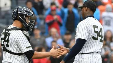 Yankees relief pitcher Aroldis Chapman and Yankees catcher