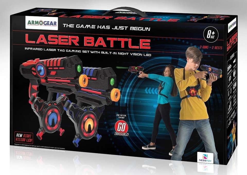 This outdoor or indoor laser tag game works