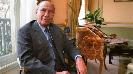 Serge Dassault poses in his office in Paris