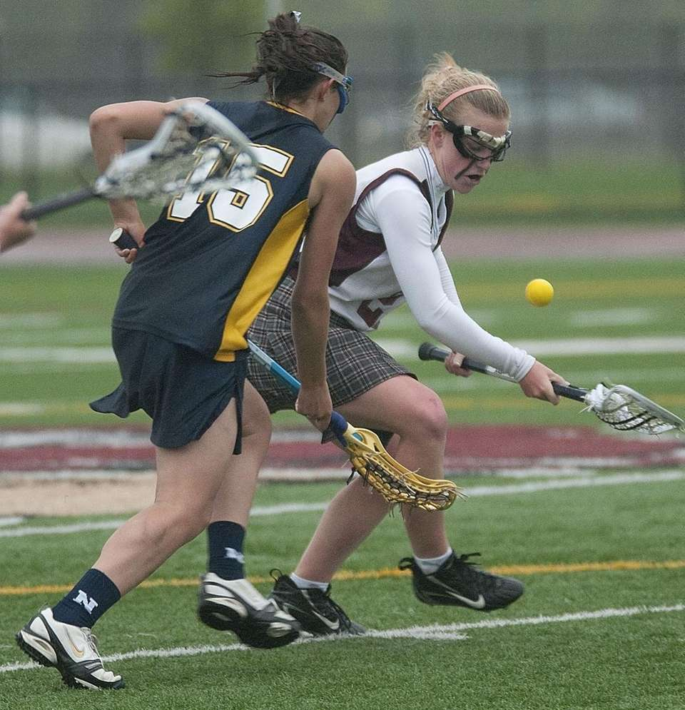 Northport's Courtney Fortunato defends against Bay Shore's Catherine