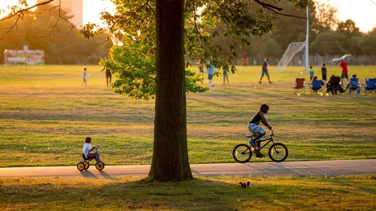 Bicyclists in Eisenhower Park in East Meadow on