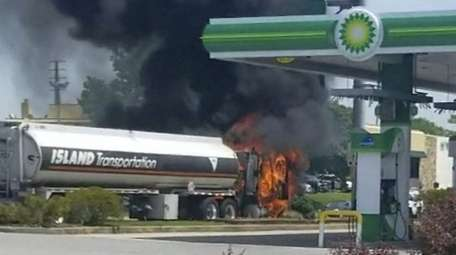 A fuel truck on fire Tuesday on Sunrise