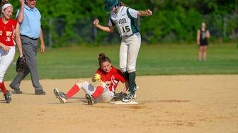 Half Hollow Hills West shortstop Rachel Katz rolls