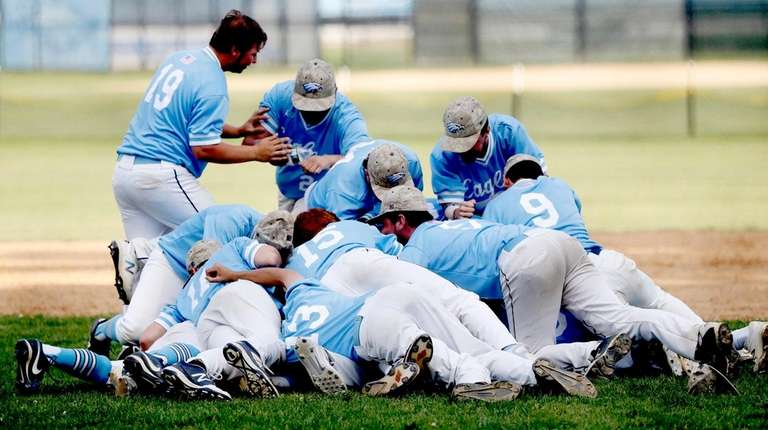 Rocky Point celebrates its victory over Shoreham-Wading River