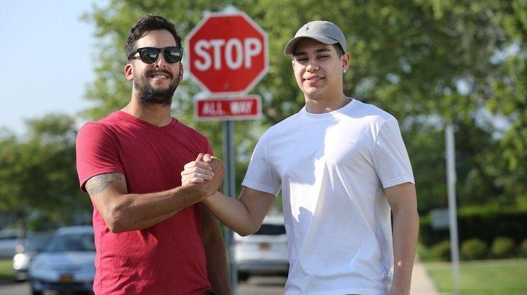 Matthew Long, left, is reunited Tuesday with Sarem