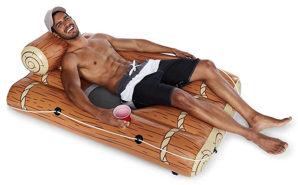 This log raft features a comfortable mesh drop