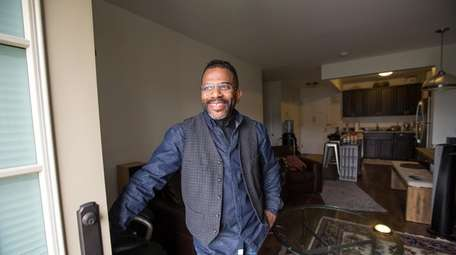 Keith Banks at his apartment in Wyandanch Village.