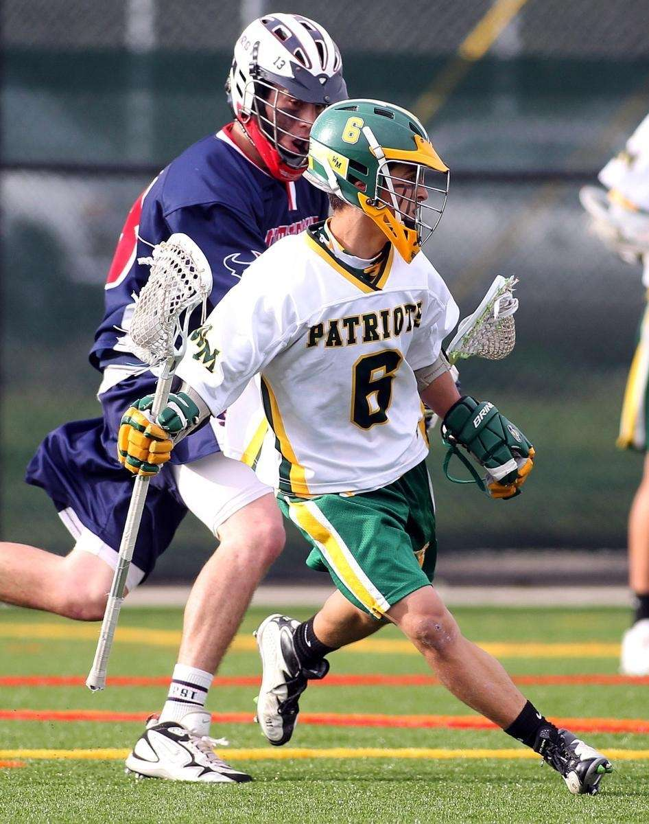 Melvillle's Will Mazzone (6) (2 goals) drives into
