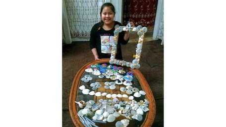 Kidsday reporter Estefani Gomez with her shell collection