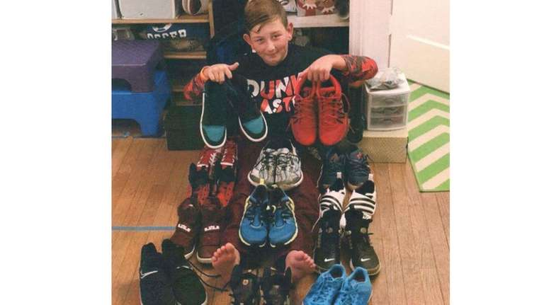 Kidsday reporter Tyler Brown and his sneaker collection.