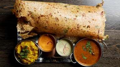 Onion rava masala dosa served at Mithaas in