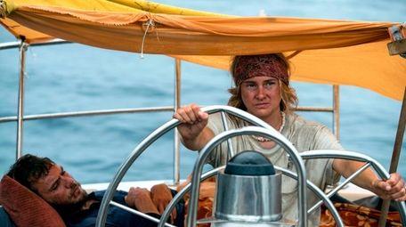 "Sam Claflin and Shailene Woodley in ""Adrift."""