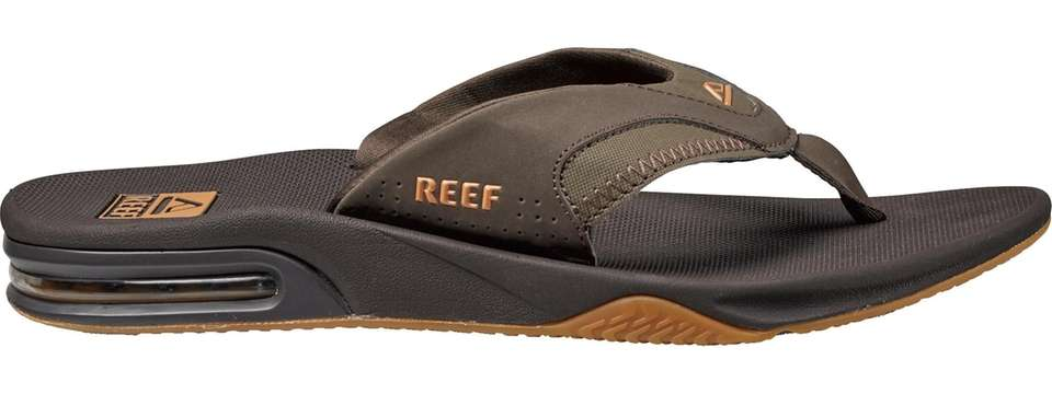 These water-friendly flip-flops include a church key bottle