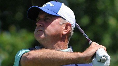 Craig Thomas tees off on the fifth hole