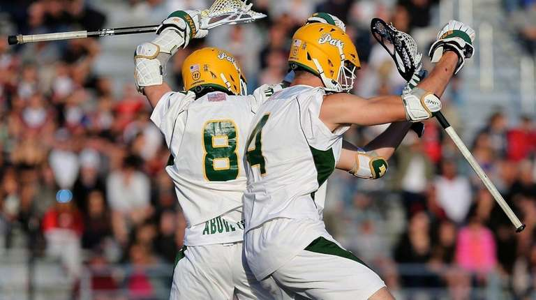 Ward Melville's Matthew Grillo and Zach Hobbes celebrate