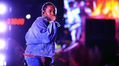 Kendrick Lamar performs onstage at the Coachella music