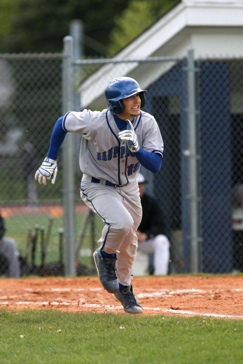 Hauppauge High School baseball player Bobby Vitulano triples