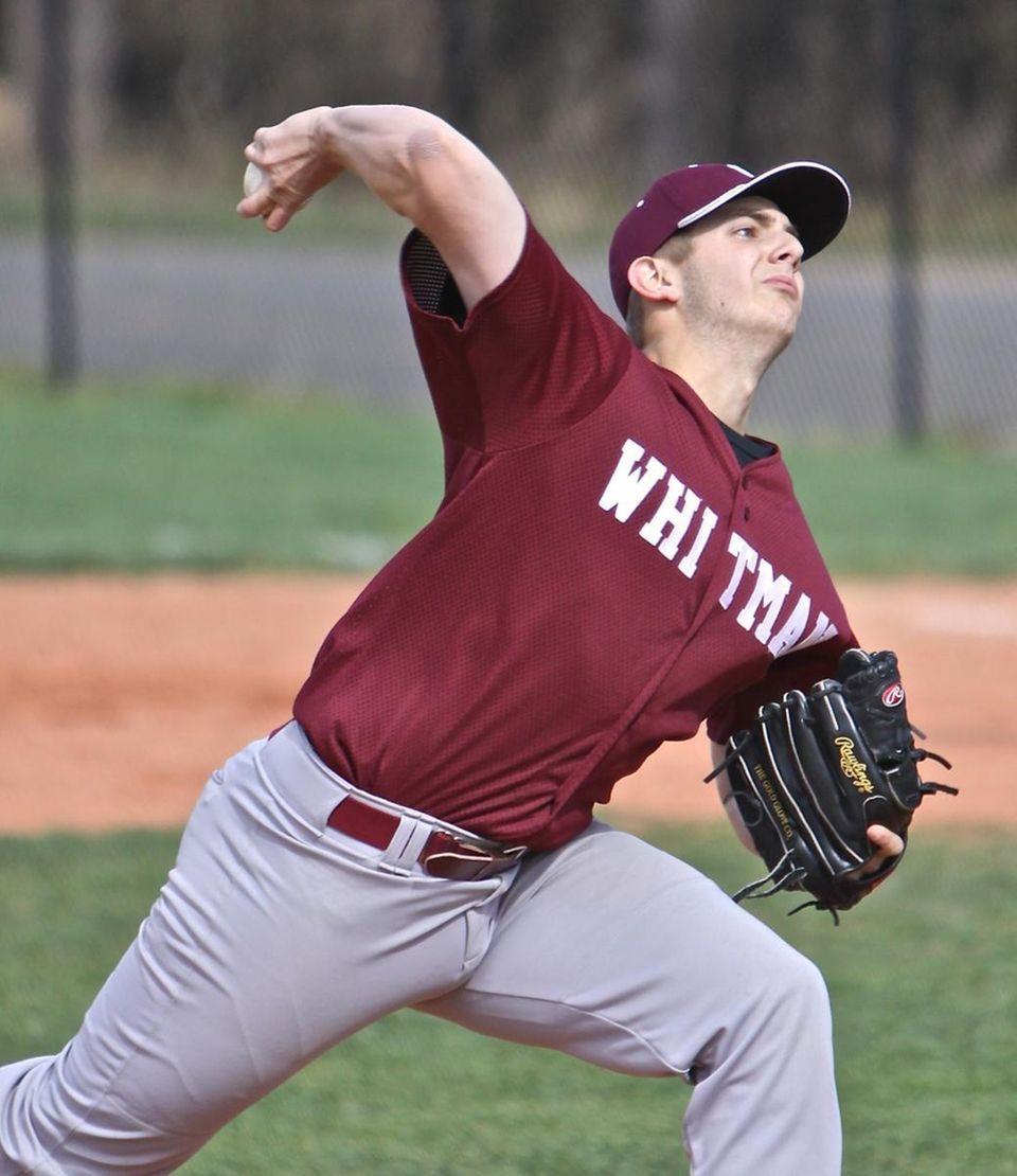 Whitman starting pitcher Nick Kozlowski #24. (April 28,