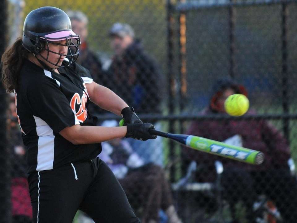 Carey High School #44 Marcella Castellano plates the