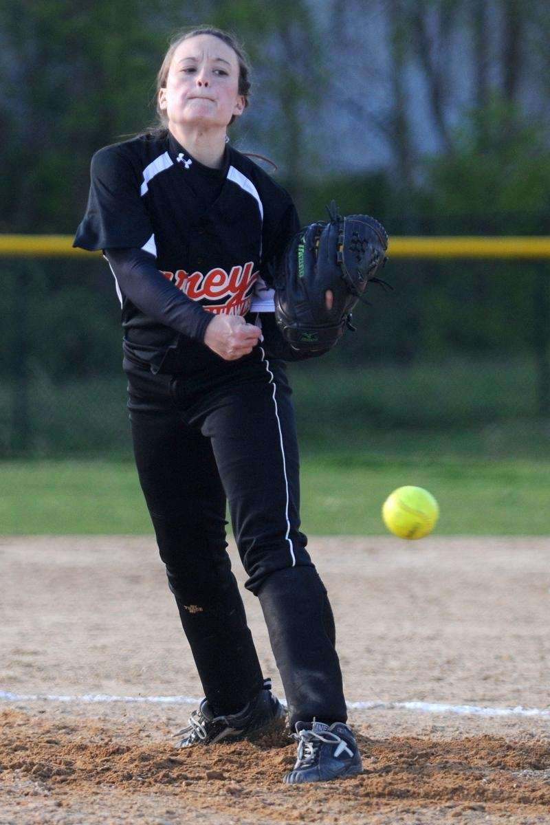 Carey High School pitcher #4 Patty Callahan delivers